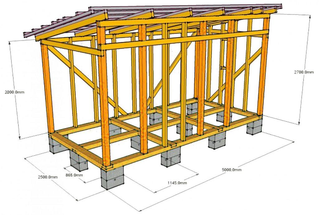 Схема строительства сарая