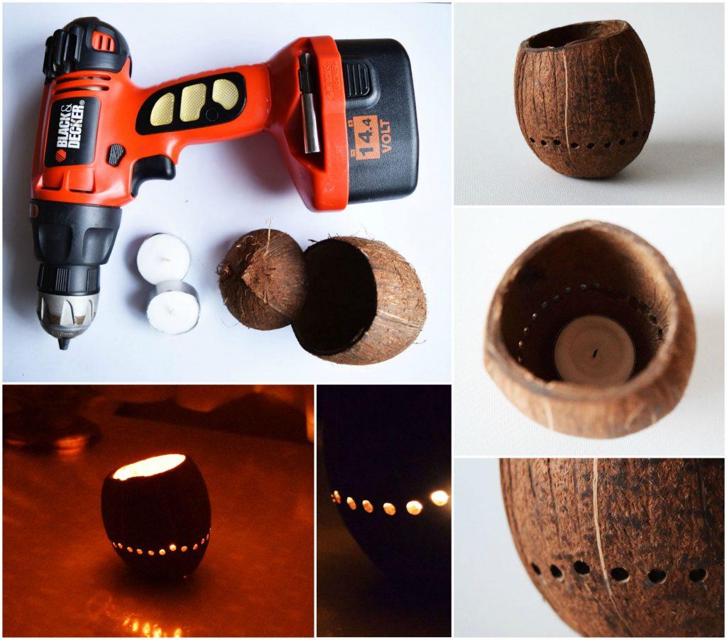 Изготовление подсвечников из кокосов