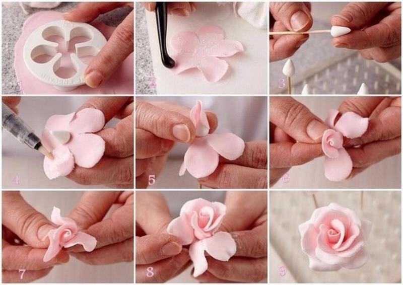 Роза из холодного раствора своими руками