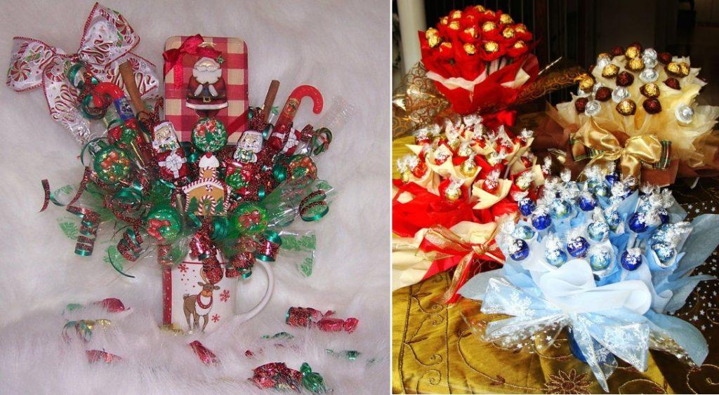 Новогодние букеты из конфет