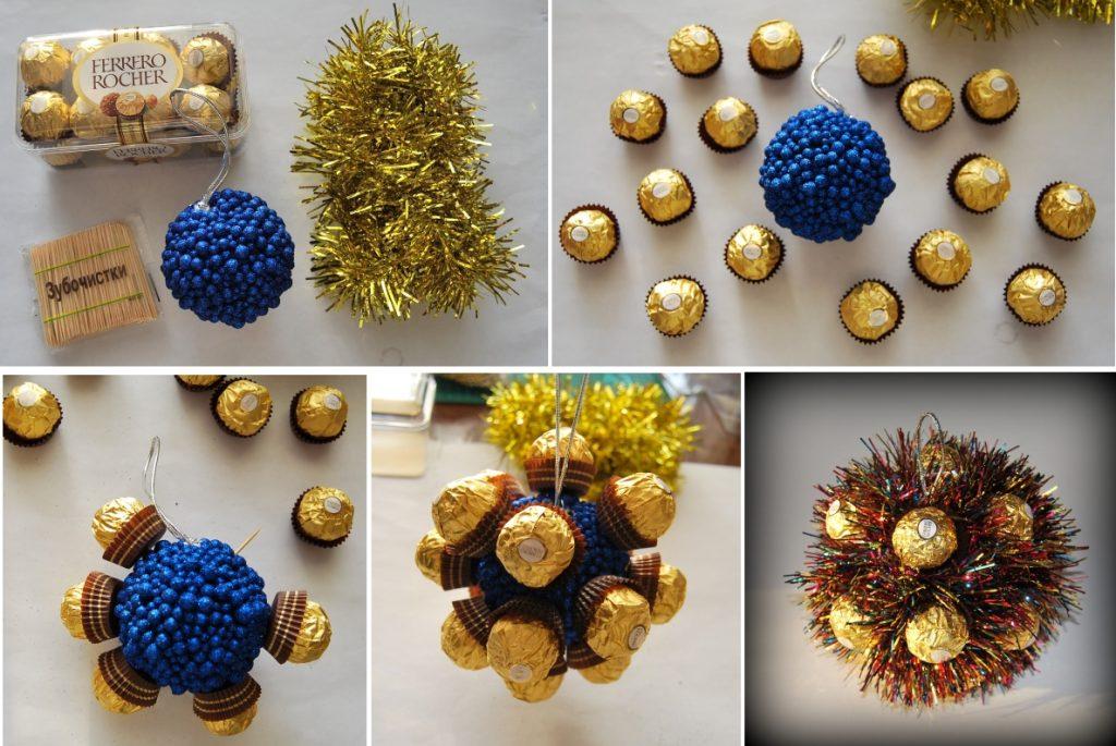 Новогодняя игрушка-шар из конфет
