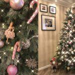 Фото 61: Украшение елки в розово-золотистых цветах