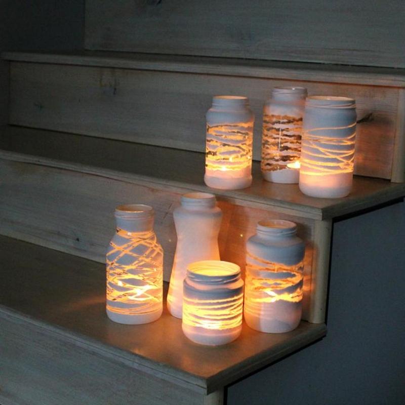 Подсвечники из пластиковых банок