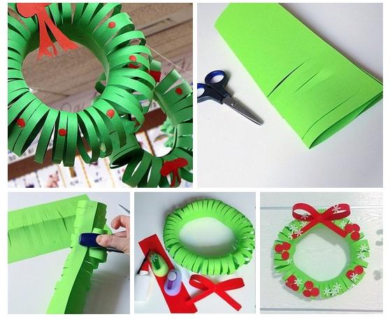 Быстрый бумажный рождественский венок