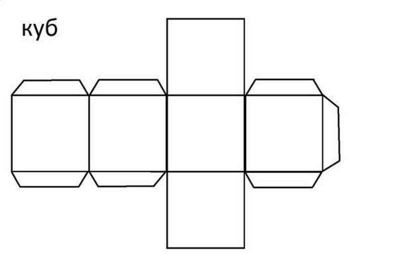 Выкройка куба из бумаги