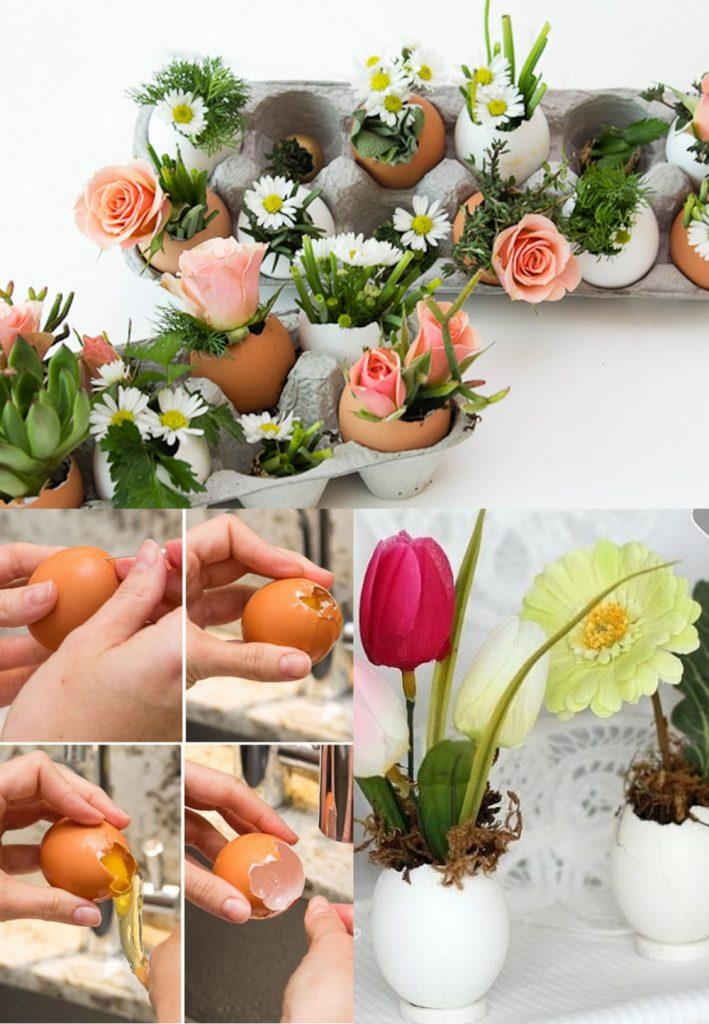 Цветы в яичной скорлупе