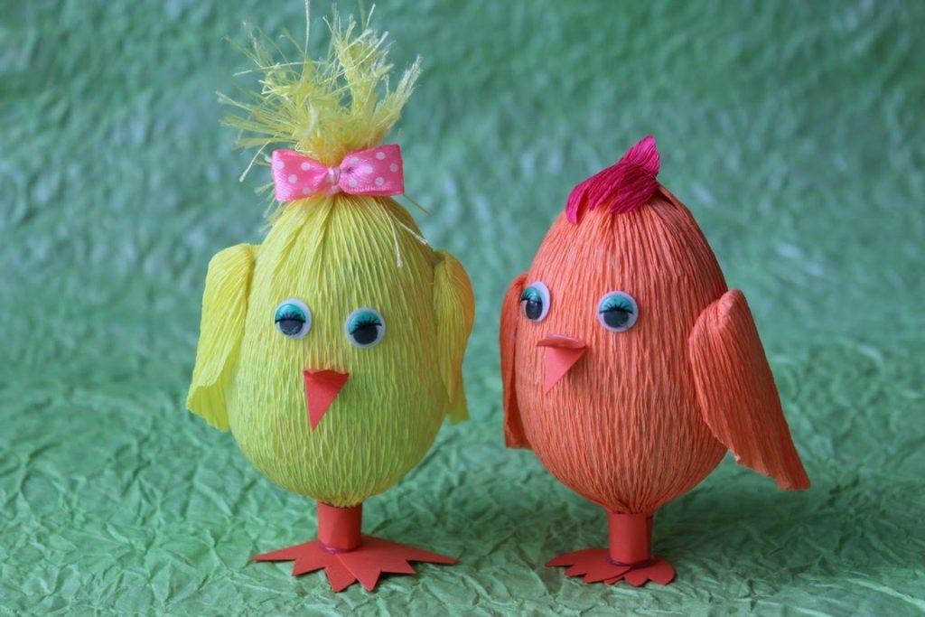 Декор яиц гофрированной бумагой