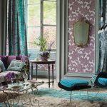 Фото 45: Бирюзово-фиолетовый дизайн штор