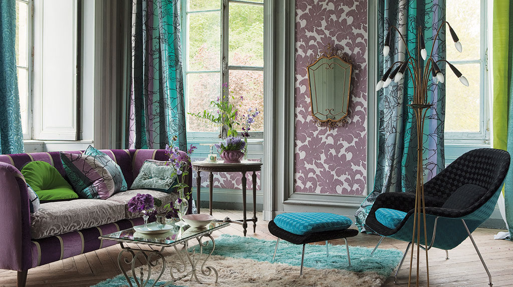 Бирюзово-фиолетовый дизайн штор