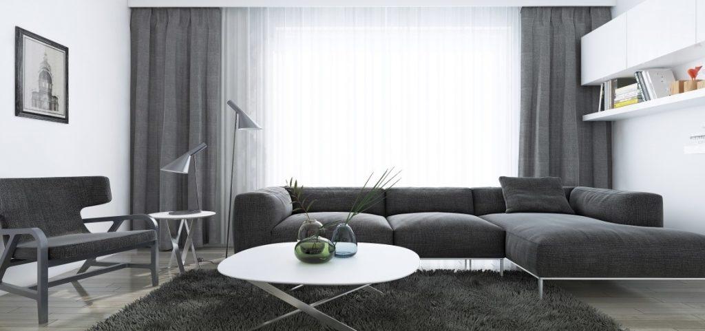Сочетание серых штор в гостиной