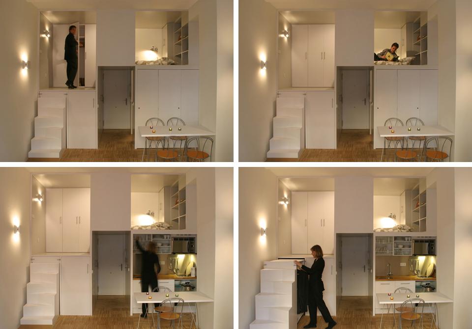 Вертикальное модульное зонирование маленькой квартиры