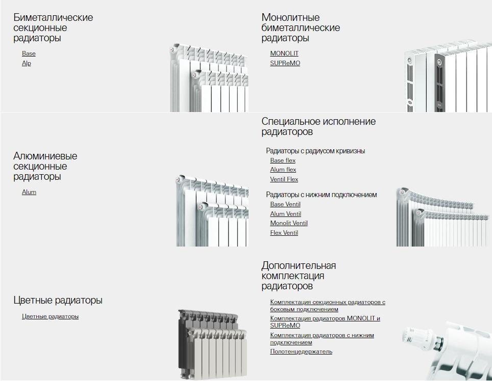 Варианты радиаторов Рифар