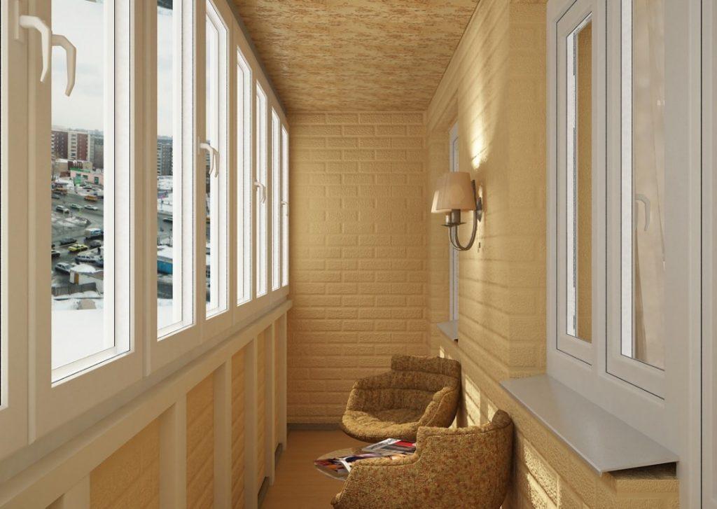 Современная отделка балкона внутри