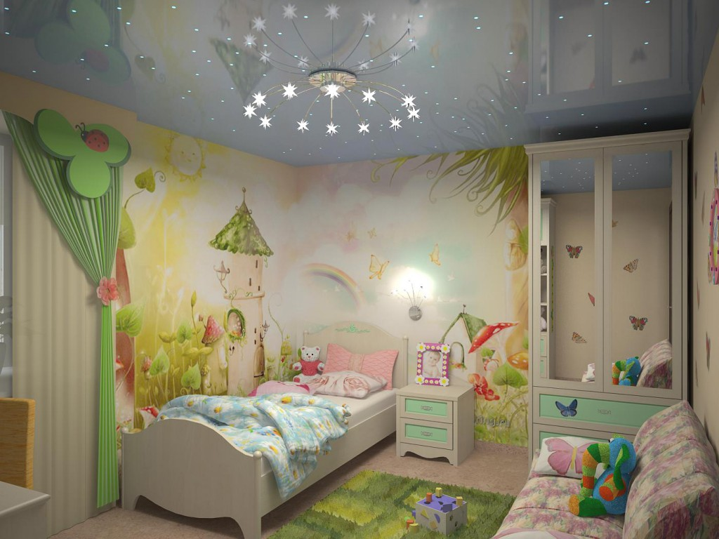 Глянцевый натяжной потолок для детской - звездное небо