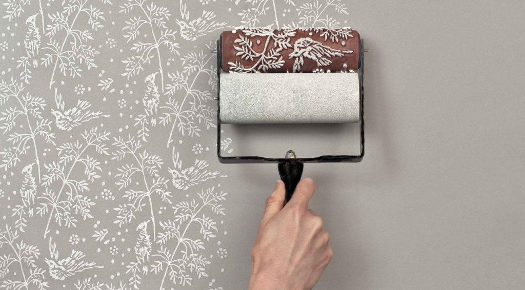 Трафаретная покраска стен - красивые узоры