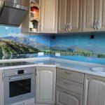 Фото 2: Стеклянный кухонный фартук