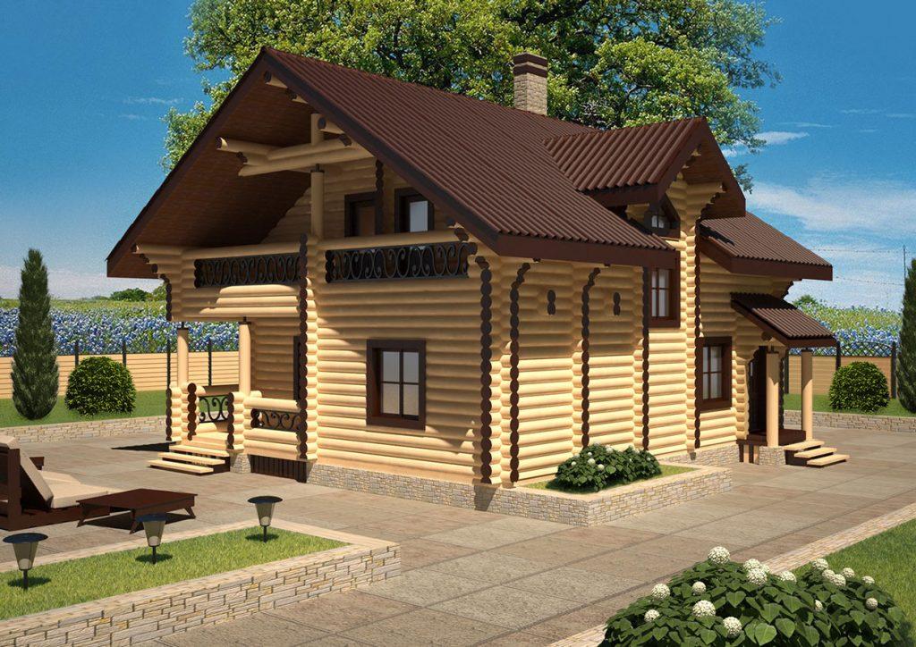 Проект современного дома из оцилиндрованного бревна