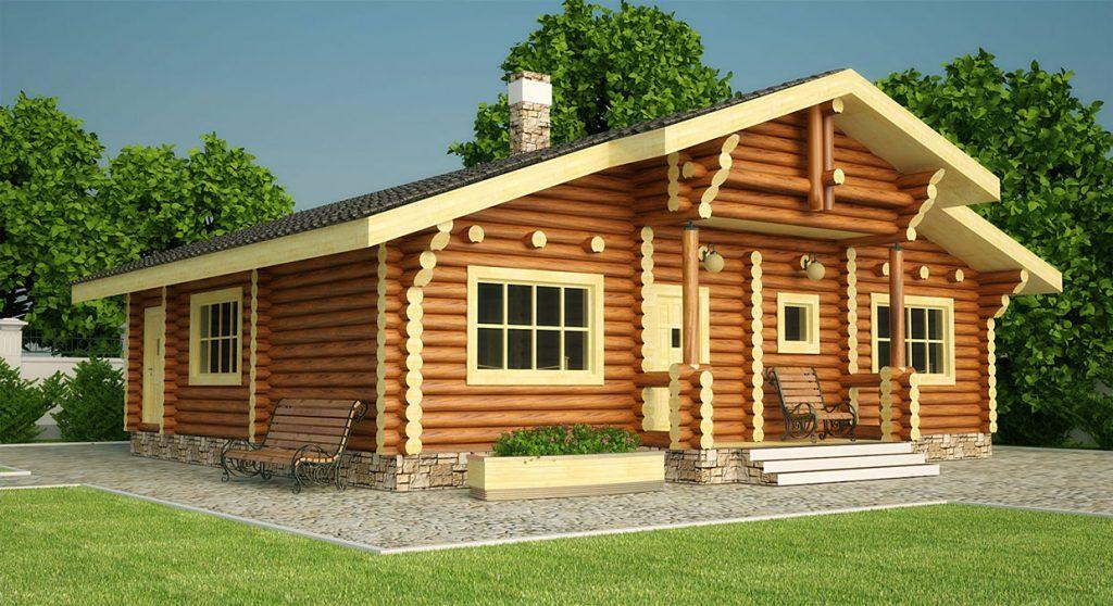 Макет - Современный дом из оцилиндрованного бревна
