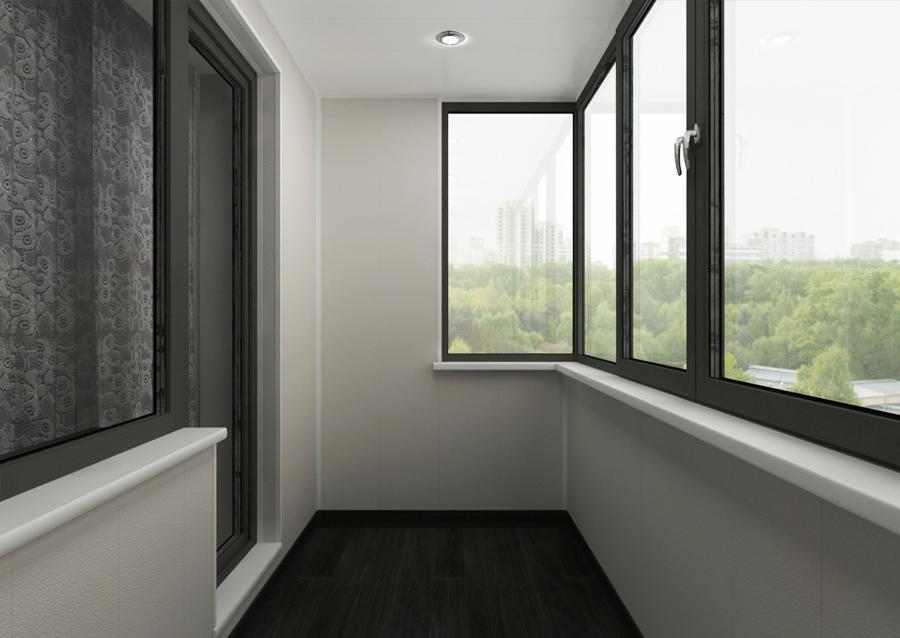 Сочетание черных рам и белых стен на балконе