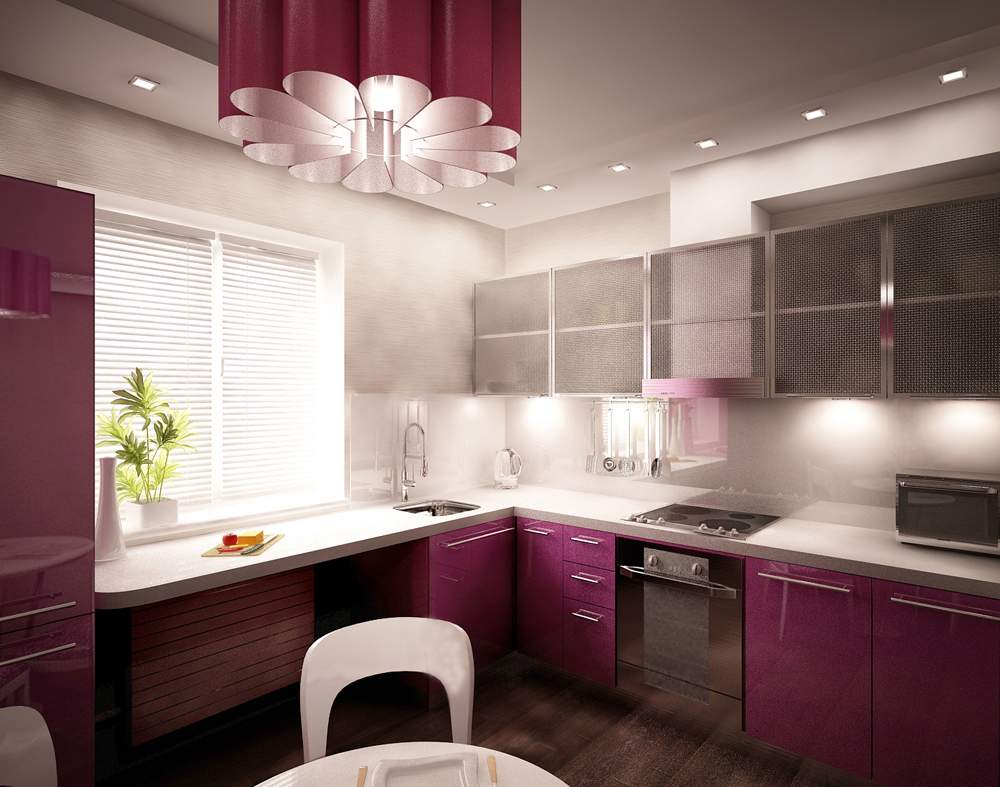 Организация освещения кухни с зональными принципами