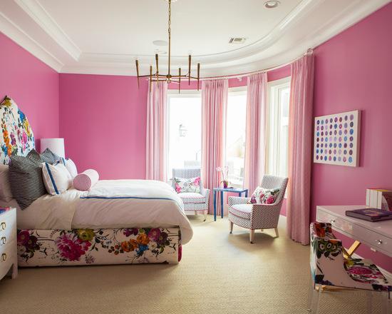 Современная спальня в розовых тонах