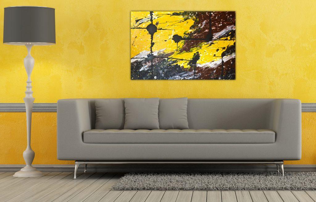 Оформление гостиной в желтых тонах