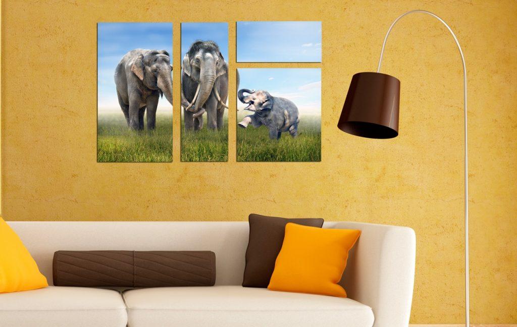 Постеры со слонами в интерьере комнаты