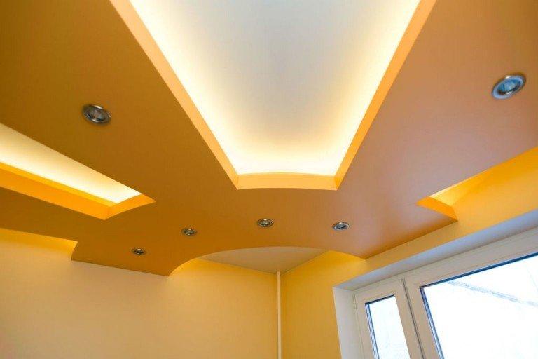 Гипсокартонный двухуровневый потолок