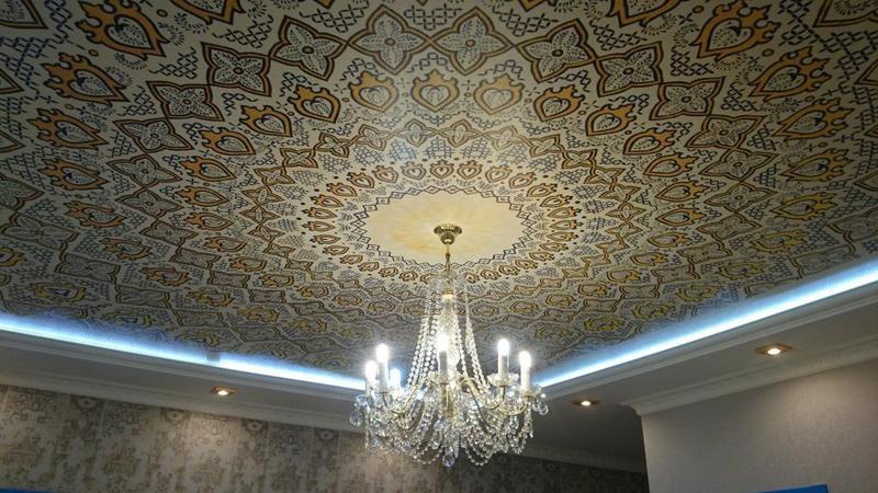 Тканевые расписные потолки