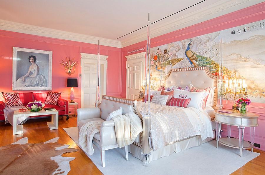 Дизайнерское оформление спальни в розовом цвете