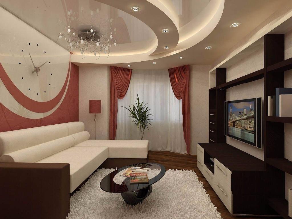 Использование натяжного потолка для отделки гостиной