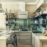 Фото 34: бирюзовый фартук на кухне