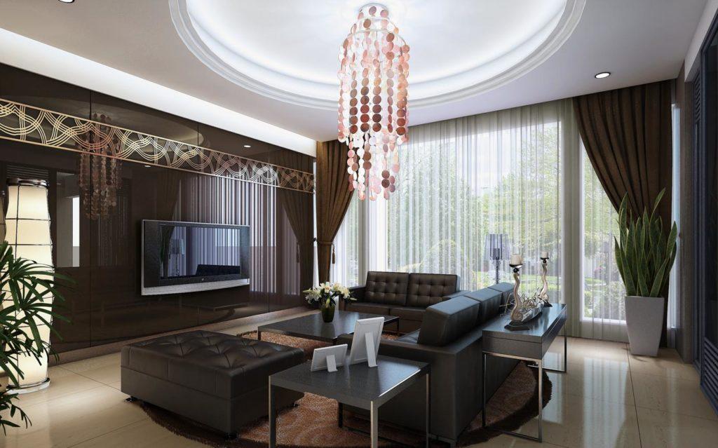 Двухуровневый потолок в интерьере гостиной