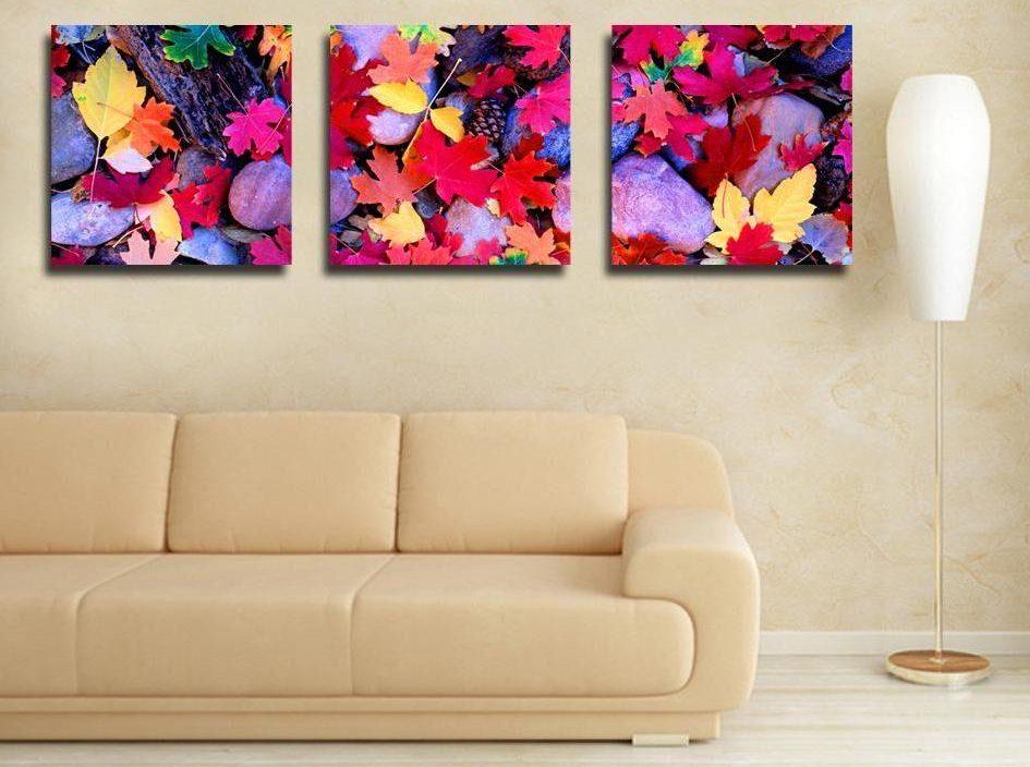 Холсты с изображением разноцветной осенней листвы