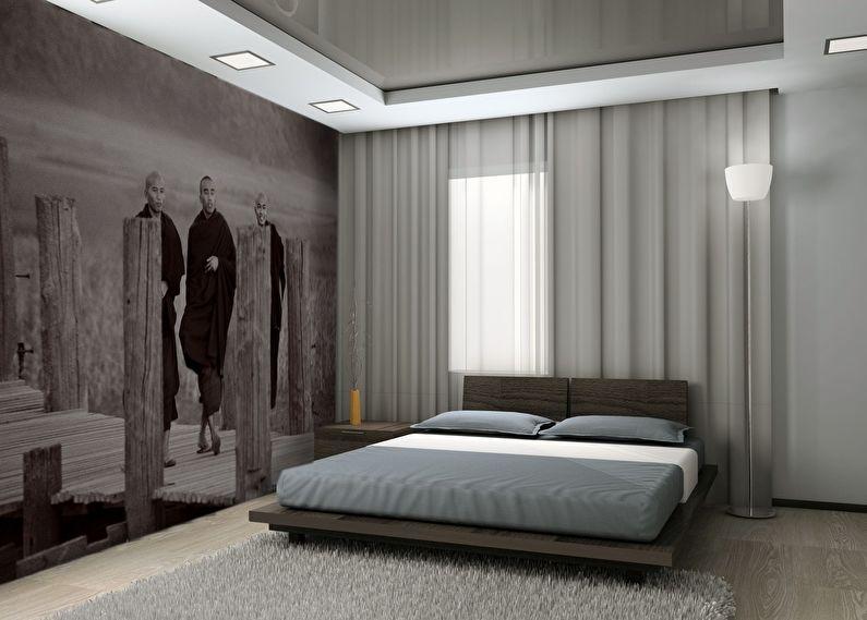 Тканевый натяжной потолок в стильной спальне