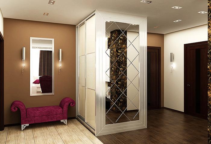 Зеркало расположенное на фасаде шкафа, отлично гармонирует с интерьером прихожей