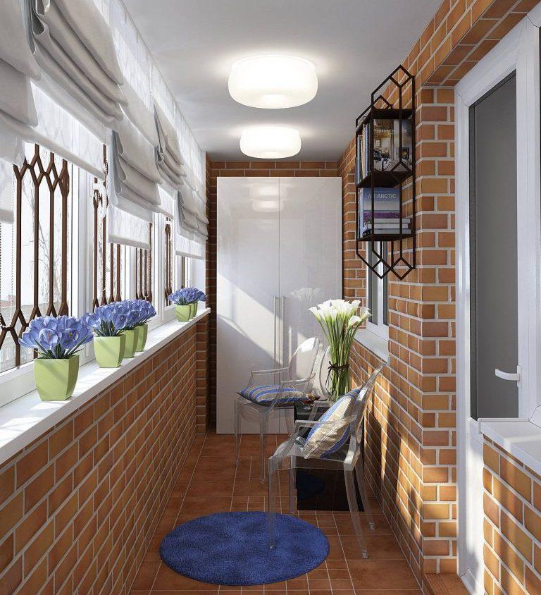 Оформление балкона под кирпич - отличный дизайн