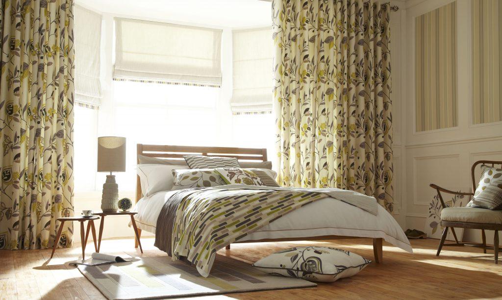 Льняные римские занавески для спальни