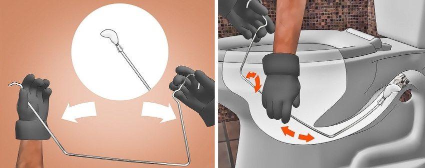 Как правильно прочистить унитаз тросом