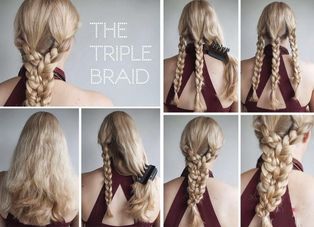 Плетение объемной косы из трех кос