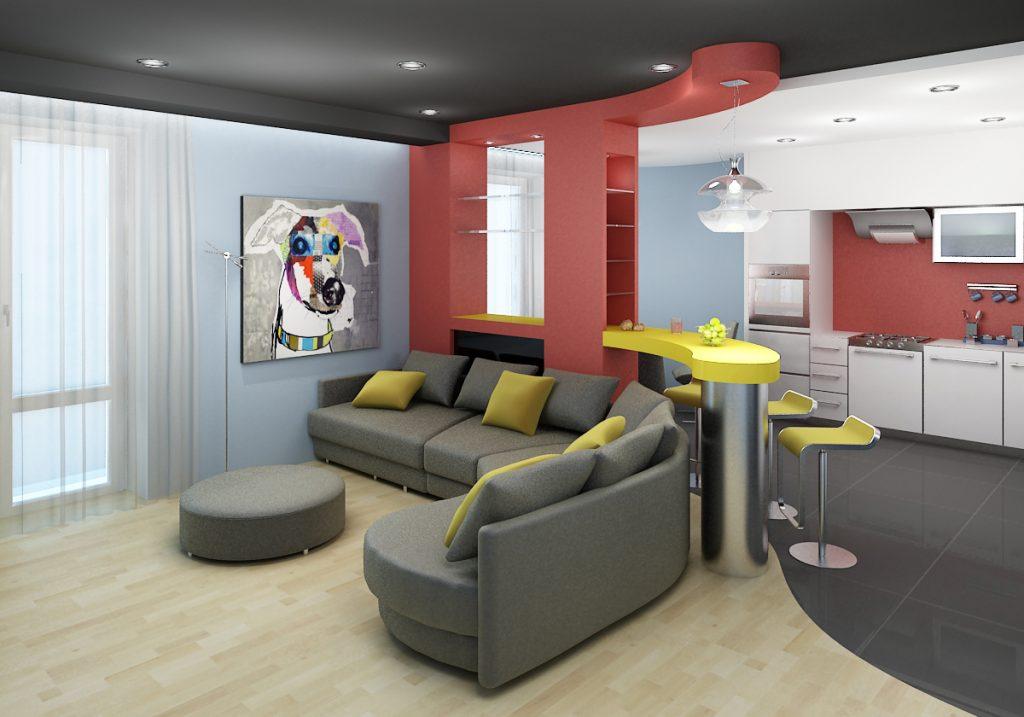 Общий стиль для совмещенной кухни и гостиной