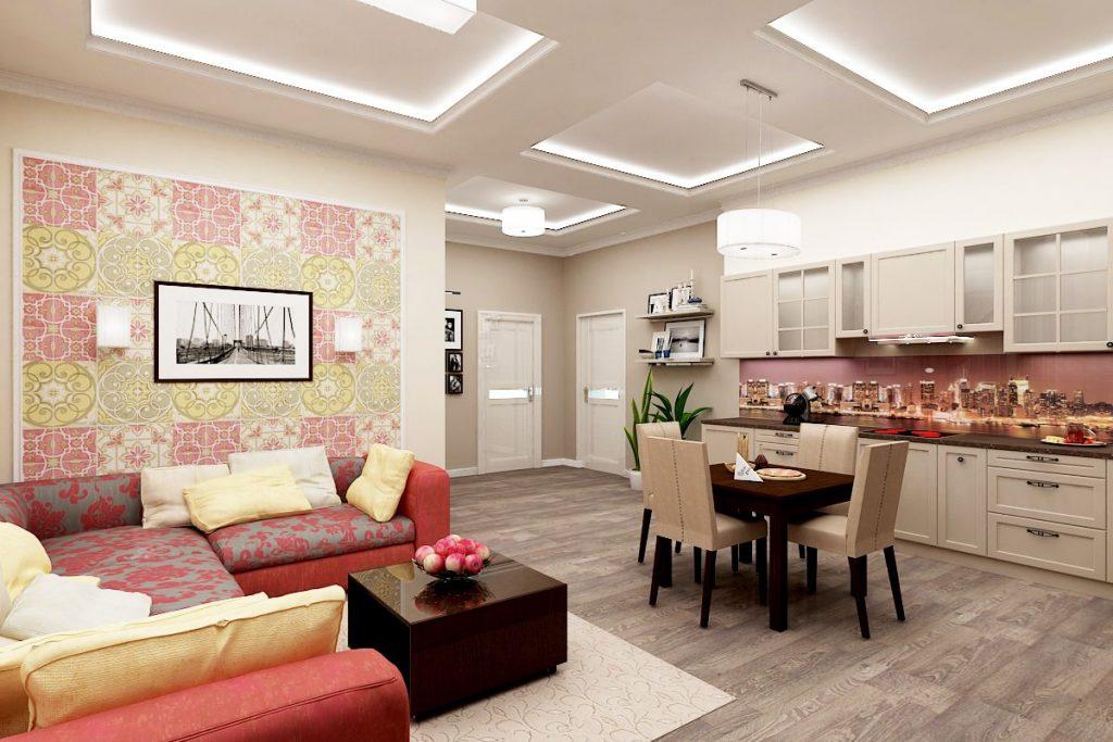 Современная квартира с совмещенной кухней и гостиной