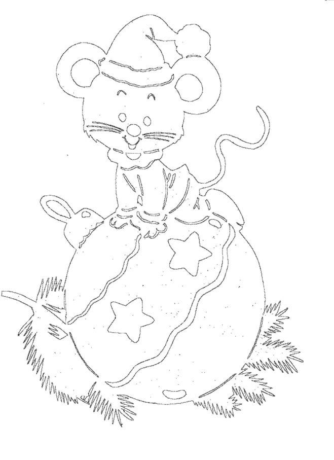 Трафарет Новогодняя Крыса