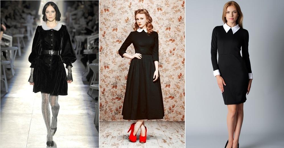 Черные платья гувернантки в белым воротникчком