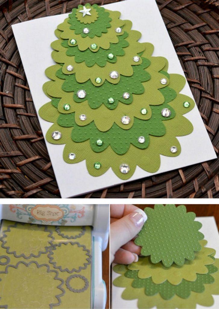 Оформление новогодней открытки пайетками