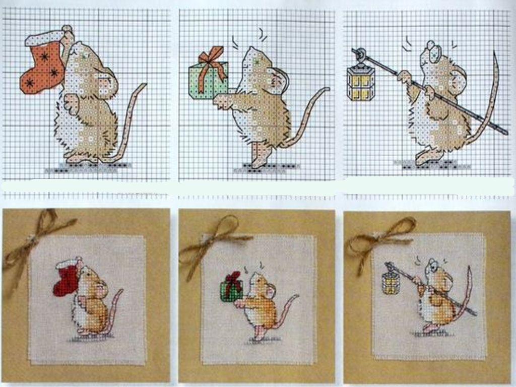 Вышивка новогодних мышат