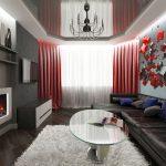 Фото 37: Гостиная в красно серых тонах