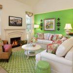 Фото 31: Зелёные стены в гостиной