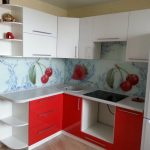 Фото 21: Кухня красно белая