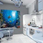 Фото 2: Кухня с фотообоями на стене